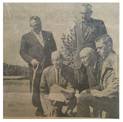 Groundbreaking, 1963. Father Childs is standing to the right.